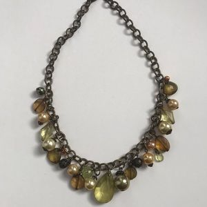 Jewelry - Statement necklace gold brown faceted beads pearls